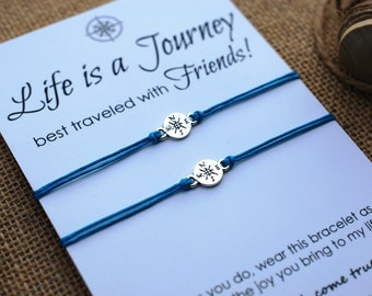 Friendship Bracelets Compass Bracelet BFF Gift Best Friend Bracelet Life is a Journey Bracelet Wishing Bracelet Wanderlust Bracelet Travel