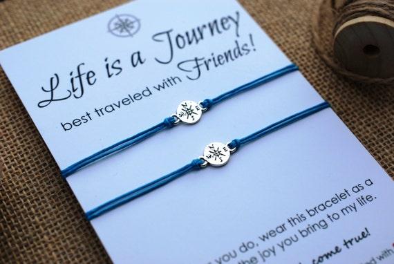 Friendship Bracelets Compass Bracelet BFF Gift Best Friend Bracelet Life is a Journey Bracelet Wishing Bracelet Wanderlust Bracelet Travel