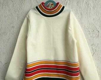 Vintage 70s Girls Striped Mock Turtleneck Size Girls 12-14 or Women XXS