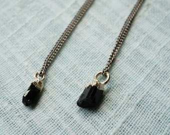Black Tourmaline and Silver Necklace