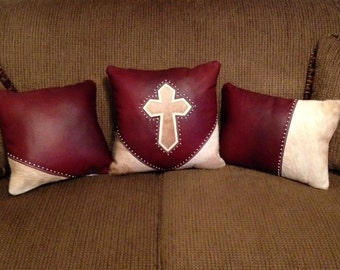 Set of 3 Leather and Hair n Hide Cross Pillows