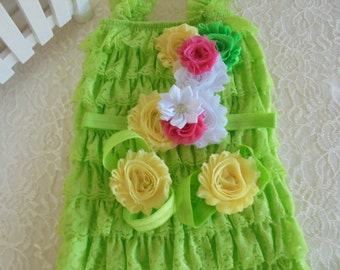 Free shipping,lime petti romper,lime romper set,birthday romper,photo prop romper,baby lime romper,girls rompers,ruffle rompers,baby outfits