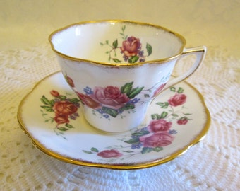 ROSINA Bone China Pink Rose Tea Cup & Saucer #5078 - England
