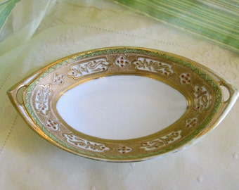 Nippon RC Noritake Hand Painted Green Gold Serving Dish with Gold Moriage Beading