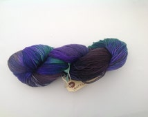 sock yarn, purples ,blues, forest greens,  wool sock yarn, hand dyed, superwash wool nylon