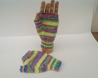 Fingerless mittens , texting gloves, driving gloves , multicolour merino wool  /  silk sock yarn yarn