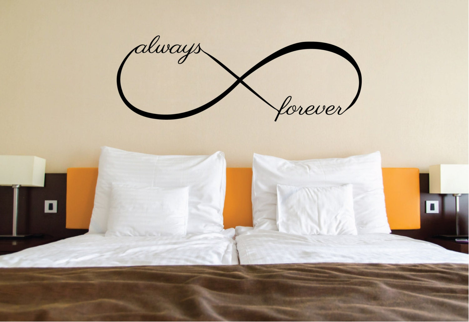 Love wall sticker quote over bed decor love infinity symbol zoom amipublicfo Choice Image