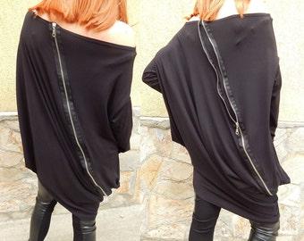 Asymmetric Top / Oversized Tunic / Maxi Dress / Woman Top / Oversize Loose Casual Top /Asymmetric Long Sleeveless Tunic