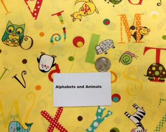 Alphabets and Animals Fabric - 2 Yards