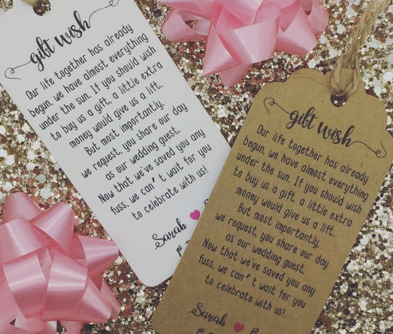 Personalised Wedding Gift Wish Money Request Poem Card Favour Gift Tag