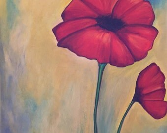 Oil painting -Big Poppy (24 x 40)