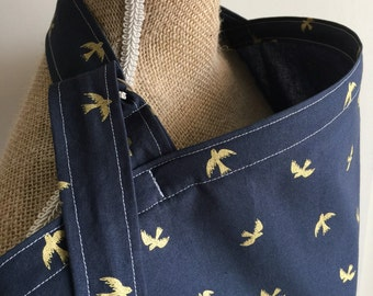 Nursing Cover Birds in Gold Navy, Breastfeeding Cover Up Large Adjustable, Sparrows Bird