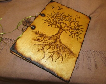 A4 Sized - Magical Journal - Two Ring Wood Binder - Decorated with Pyrography