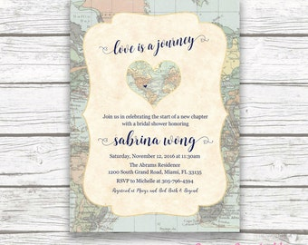 Map Travel Bridal Shower Invitation, Love is a Journey, Adventure Awaits Bridal Shower Invite, Destination Wedding, Printable Invitation