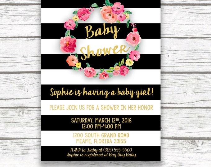 Baby Shower Invitation Girl, Black and White Baby Shower Invitation, Oh Baby Invitation, Pink Gold Baby Shower Invite, Printable Invitation