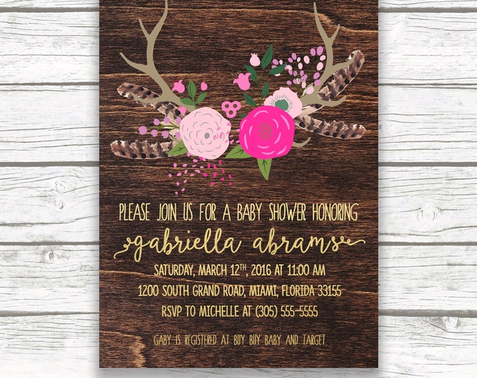 Boho Baby Shower Invitation, Pink and Gold Foil Floral Antler Feather Girl Southwestern Boho Invite, Printed or Printable, Matching Back