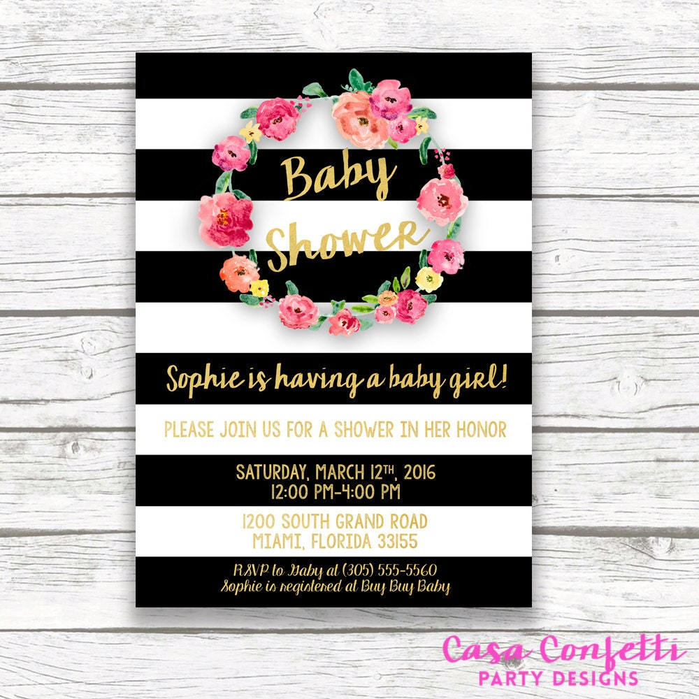 Black And White Striped Gold Foil Baby Shower Invitation Pink