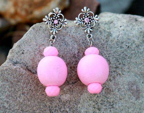 Ohrringe Aus Holz FUr Männer ~ Rosa Ohrringe Holz Ohrring minimalistischen Ohrring aus Holz Ohrring