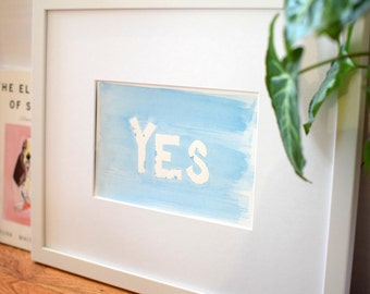 Yes Blue and White Watercolor Painting - Inspirational Art