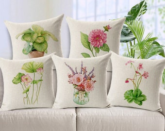 Hand drawing flowers plants bonsai cushion cover, pillow cover, nice and nature feeling