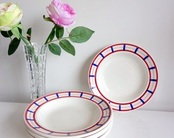 "Lovely set of 6 French faience Soup plates - Digoin Sarreguemines - model ""basque"" - 1940s"