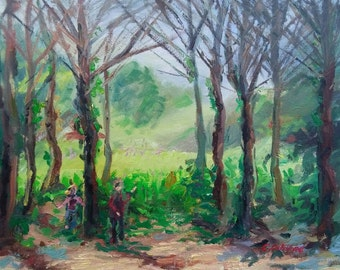 Impressionist landscape painting, original oil on canvas, children playing in the wood, 20x16in