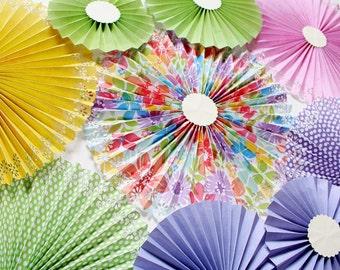 Paper Rosettes - Paper Pinwheels - Pinwheel Backdrop - Paper Fans - Garden Party - Baby Shower Decor - Bridal Shower Decor