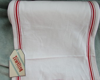 Moda Toweling,White w/ Red stripe, on the bolt, BTY, by the yard, 100% cotton