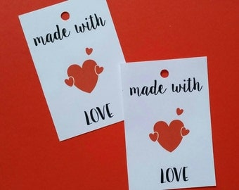 "20 labels ""made with LOVE"" tags for customizable favors"