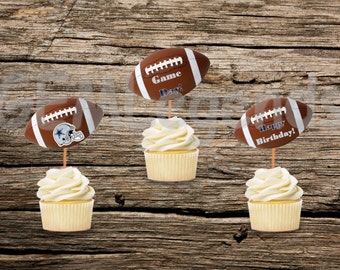 Dallas Cowboy Cupcake Toppers, Cowboys Cupcake Toppers, Cowboys Birthday Party, Cowboys Party,NFL Party, NFL Birthday,Instant Printable
