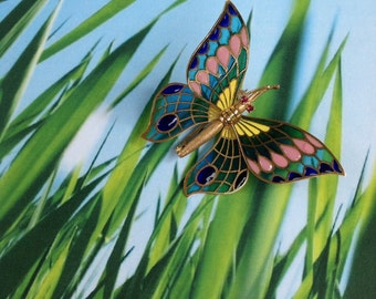 Vintage Plique-a-jour Butterfly Brooch