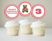 Teddy Bear Cupcake Toppers -INSTANT DOWNLOAD - Editable File - Red Gingham, Teddy Bears Picnic Toppers, Teddy Bear Toppers, Cupcake Toppers