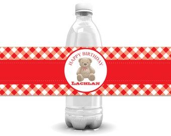 Teddy Bear Picnic, Teddy Bear, Teddy Bear Party, Teddy Bear Birthday, Teddy Bears Picnic, Teddy Bear Bottle Labels, You Print, Red Gingham