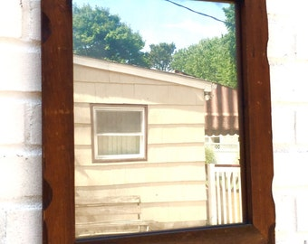 Wooden Antiqued Mirror /  Chiseled Wood Antiqued Mirror