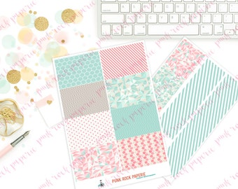 Pink & Mint Geo Collection - Washi Full Box Stickers for Erin Condren, Kikki K, Plum Paper Life Planners