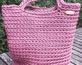Pink croched bag/ rope