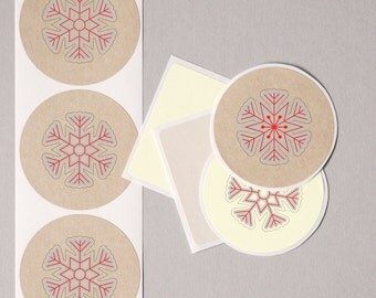 "envelope seals SCANDINAVIAN red SNOWFLAKE label stickers 20 medium 2"" white cream brown paper kraft gift wrap seal Christmas favor bag seals"