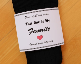Wedding Socks LABEL, Dad of all our walks this one is my favorite, Wrapper ONLY. Socks are NOT included. father of the bride gift label LB4X