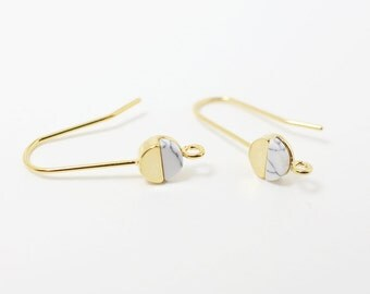 E0076/Anti-tarnished Gold Plating Over Brass+Howlite/Howlite Circle Earring Hook/5x5mm/2pcs