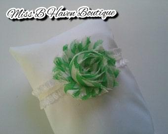 Newborn baby headband, green, white, lace, shabby, photography, baby gift, ready to ship