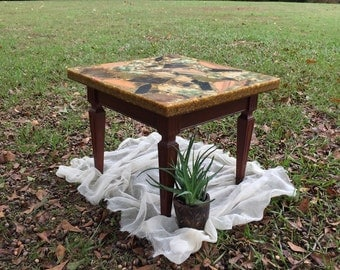 Stunning Authentic Vintage End Table / Marble Top End Table / Vintage End Table