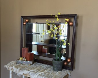 Vintage Wood Shadowbox Mirror