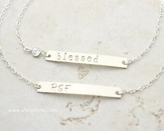 Initial Bracelet / CZ Crystal Bracelet / Sterling Silver, Gold, Rose Gold / Delicate Bracelet / Layering Bracelet