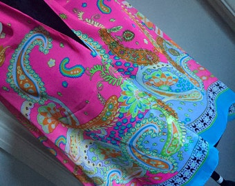 Paisley pink blue green multi scarf shawl wrap cover up wedding birthday
