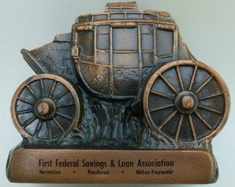 Vintage Metal Coin Bank, Stage Coach, Banthrico, Inc.