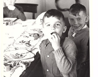 Boys at the Table - 8 x 10 vintage black and white photograph