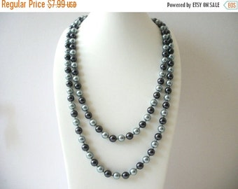 ON SALE Vintage RMN Signed Silver Tones Long Metal Beads Necklace 8516