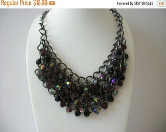 ON SALE Vintage Silver Iridescent Glass Beads Necklace 8916