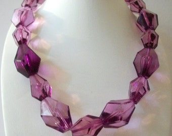 ON SALE Vintage Sparkling Purple Plum Translucent Chunky Facted Etched Beads Necklace 92216