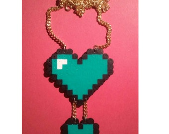 Teal Hearts Perler Bead Necklace